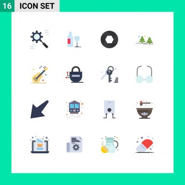 Set of 16 Modern UI Icons Symbols Signs for pines, jungle, love, camping, photo Editable Pack of Creative Vector Design Elements icon