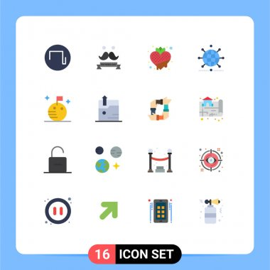 Stock Vector Icon Pack of 16 Line Signs and Symbols for flag, business, fruit, network, globe Editable Pack of Creative Vector Design Elements icon
