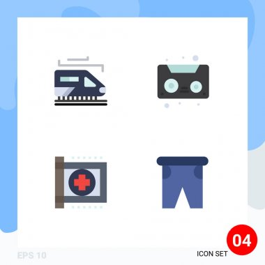 Editable Vector Line Pack of 4 Simple Flat Icons of train, health, audio tape, care, beach Editable Vector Design Elements icon