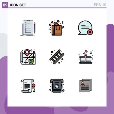 Set of 9 Modern UI Icons Symbols Signs for fireman, surveillance, romance, security, interaction Editable Vector Design Elements