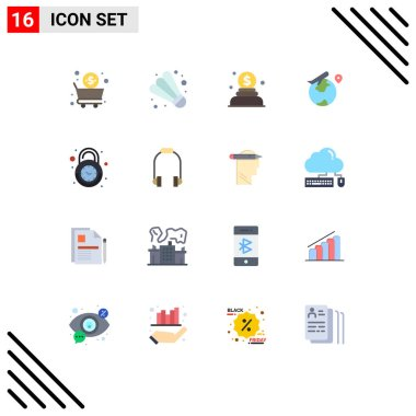 16 Creative Icons Modern Signs and Symbols of secure, clock, donation, alarm, fly Editable Pack of Creative Vector Design Elements icon