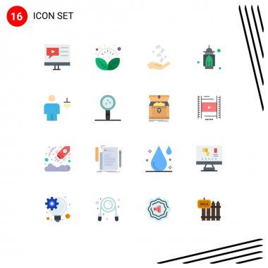 16 Creative Icons Modern Signs and Symbols of moon, masjid, relax, mosque, rock Editable Pack of Creative Vector Design Elements icon