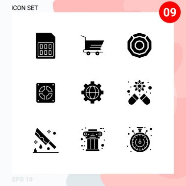 Group of 9 Solid Glyphs Signs and Symbols for setting, plumbing, komodo, plumber, extractor Editable Vector Design Elements