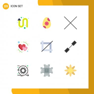 Stock Vector Icon Pack of 9 Line Signs and Symbols for connection, graphic, delete, design, february Editable Vector Design Elements icon