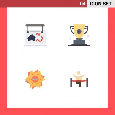 Pack of 4 Modern Flat Icons Signs and Symbols for Web Print Media such as frame, first, guide, cup, branding Editable Vector Design Elements icon