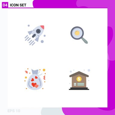 Pack of 4 creative Flat Icons of launch, bag, startup, frying, donation Editable Vector Design Elements icon