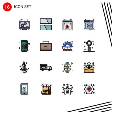 Stock Vector Icon Pack of 16 Line Signs and Symbols for bag, device, bug, app, notification Editable Creative Vector Design Elements icon
