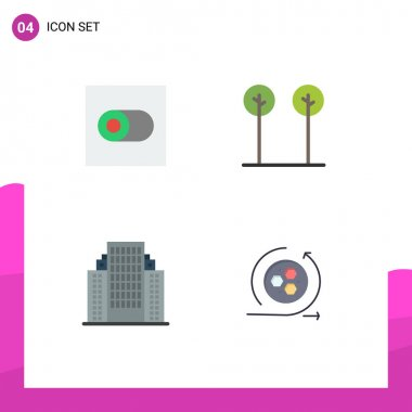 Pack of 4 creative Flat Icons of control, building, eco, plant, modeling Editable Vector Design Elements icon