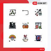 9 Universal Filledline Flache Farben Set für Web und mobile Anwendungen Badezimmer, Gebäude, Rücken, Verschmutzung, Fabrik Editierbare Vektordesign-Elemente