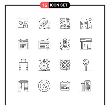 Pack of 16 creative Outlines of internet, bookshelf, website, living, chandeliers Editable Vector Design Elements