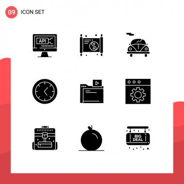 Stock Vector Icon Pack of 9 Line Signs and Symbols for app, video, automobile, movie, clock Editable Vector Design Elements icon