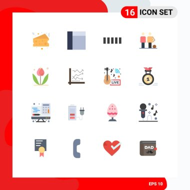 Set of 16 Modern UI Icons Symbols Signs for spring, floral, signal, flower, friends Editable Pack of Creative Vector Design Elements icon