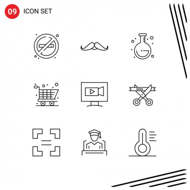 Stock Vector Icon Pack of 9 Line Signs and Symbols for video, monitor, men, shopping, cart Editable Vector Design Elements icon