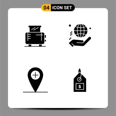 Stock Vector Icon Pack of 4 Line Signs and Symbols for electric, add, toaster, globe, location Editable Vector Design Elements icon