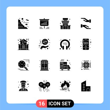 Stock Vector Icon Pack of 16 Line Signs and Symbols for family, caring, analytics, care, store Editable Vector Design Elements icon