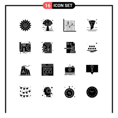 Set of 16 Commercial Solid Glyphs pack for ui, filter, poison, browser, patient Editable Vector Design Elements