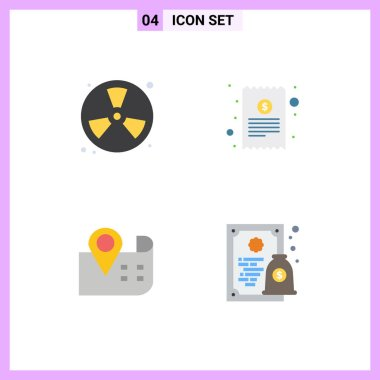 Stock Vector Icon Pack of 4 Line Signs and Symbols for burn, map, fireman, cash receipt, location Editable Vector Design Elements icon