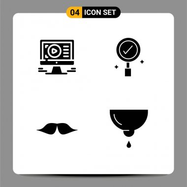 Stock Vector Icon Pack of 4 Line Signs and Symbols for monitor, movember, design, search, men Editable Vector Design Elements icon