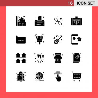 Pack of 16 Modern Solid Glyphs Signs and Symbols for Web Print Media such as bubble, hiking, hyperlink, health, bag Editable Vector Design Elements