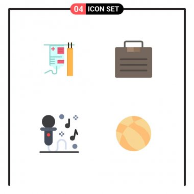 Flat Icon Pack of 4 Universal Symbols of drip, microphone, treatment, portfolio, party Editable Vector Design Elements icon