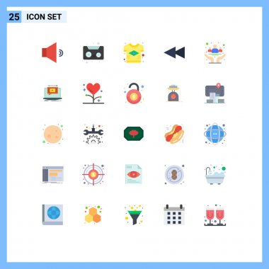 Stock Vector Icon Pack of 25 Line Signs and Symbols for health, community, country, cancer, rewind Editable Vector Design Elements icon