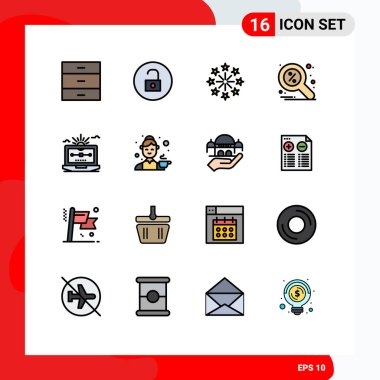Stock Vector Icon Pack of 16 Line Signs and Symbols for file, search, celebration, magnifier, discount Editable Creative Vector Design Elements icon