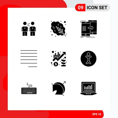 Stock Vector Icon Pack of 9 Line Signs and Symbols for text, align, salad, syncing, sync Editable Vector Design Elements icon