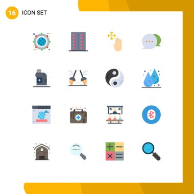 16 Creative Icons Modern Signs and Symbols of cleaner, communication, form, chat, up Editable Pack of Creative Vector Design Elements icon