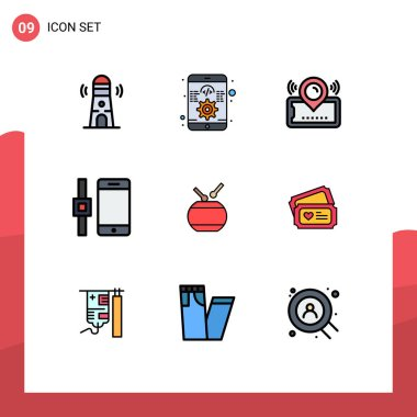 Stock Vector Icon Pack of 9 Line Signs and Symbols for celebration, smartphone, map, smart watch, cinema Editable Vector Design Elements icon