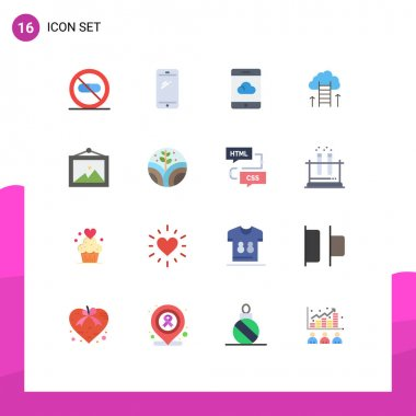 Set of 16 Modern UI Icons Symbols Signs for focus, dream, android, career, smartphone Editable Pack of Creative Vector Design Elements icon