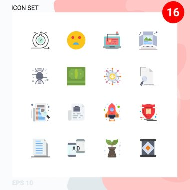Set of 16 Modern UI Icons Symbols Signs for tabletop display, print, access, advertisement, laptop Editable Pack of Creative Vector Design Elements icon