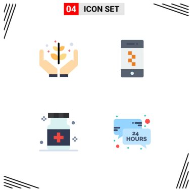 Editable Vector Line Pack of 4 Simple Flat Icons of agriculture, care, give, communications, hospital Editable Vector Design Elements icon