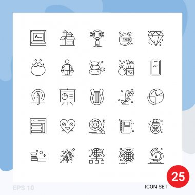 Stock Vector Icon Pack of 25 Line Signs and Symbols for diamond, fianc%%c%%a loan, analysis, debt, security Editable Vector Design Elements icon