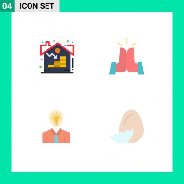 Pack of 4 creative Flat Icons of estate, idea, asset, friends, light Editable Vector Design Elements icon