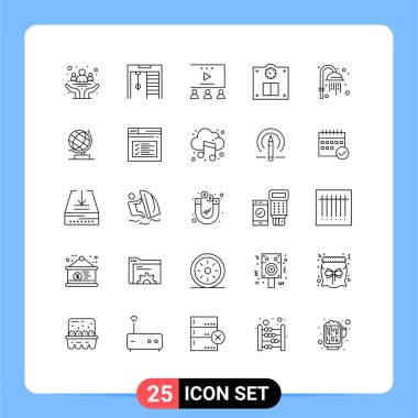 Stock Vector Icon Pack of 25 Line Signs and Symbols for shower, cleansing, online advertisement, weight, floor Editable Vector Design Elements icon