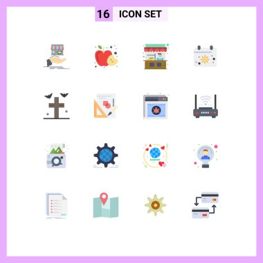 Universal Icon Symbols Group of 16 Modern Flat Colors of bats, date, health, calender, street Editable Pack of Creative Vector Design Elements icon
