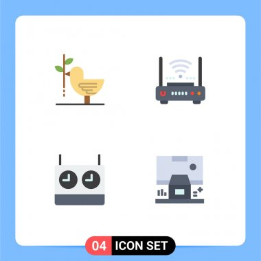Pack of 4 creative Flat Icons of agreement, modem, harmony, wifi, clock Editable Vector Design Elements icon