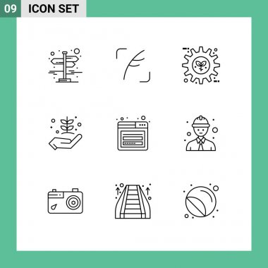 Stock Vector Icon Pack of 9 Line Signs and Symbols for nature, garden, eco, farming, setting Editable Vector Design Elements icon