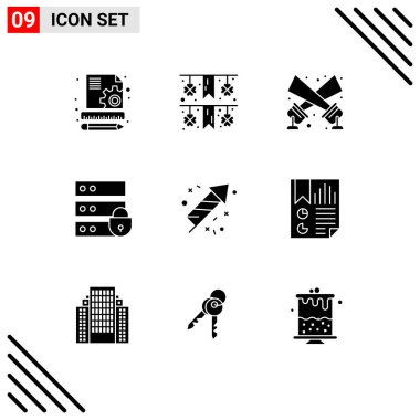 Stock Vector Icon Pack of 9 Line Signs and Symbols for bookmark, fire, spotlight, fire work, internet security Editable Vector Design Elements icon