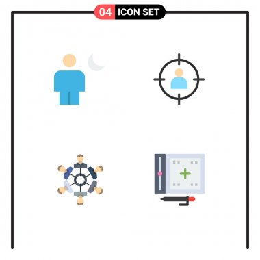 Pack of 4 Modern Flat Icons Signs and Symbols for Web Print Media such as avatar, user, moon, man, friends Editable Vector Design Elements icon