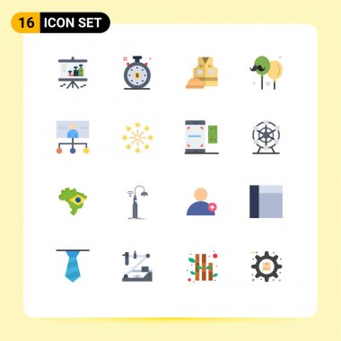 Set of 16 Modern UI Icons Symbols Signs for hierarchy, fathers day, labour jacket, father, balloon Editable Pack of Creative Vector Design Elements icon