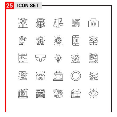 Stock Vector Icon Pack of 25 Line Signs and Symbols for camera, religion, balance, pray, church Editable Vector Design Elements icon
