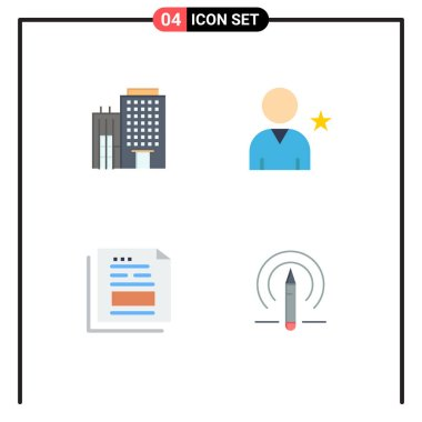Set of 4 Commercial Flat Icons pack for hotel, document, service, star, invoice Editable Vector Design Elements icon