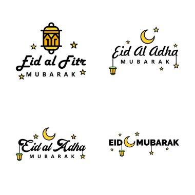 Happy of Eid Pack of 4 Eid Mubarak Greeting Cards with Shining Stars in Arabic Calligraphy Muslim Community festival icon