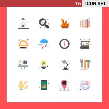 Universal Icon Symbols Group of 16 Modern Flat Colors of education, e learning, egg, e book, paper Editable Pack of Creative Vector Design Elements icon