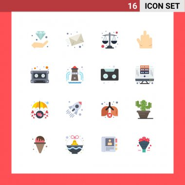 Stock Vector Icon Pack of 16 Line Signs and Symbols for cassette, audio, web, high five, fingers Editable Pack of Creative Vector Design Elements icon