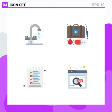 Pack of 4 creative Flat Icons of bathroom, list, sink, first aid, options Editable Vector Design Elements icon