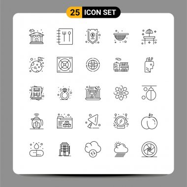 Stock Vector Icon Pack of 25 Line Signs and Symbols for table, restaurant, funds, park, food Editable Vector Design Elements icon