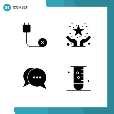 Stock Vector Icon Pack of 4 Line Signs and Symbols for computers, safe, disconnected, favorite, conversation Editable Vector Design Elements icon