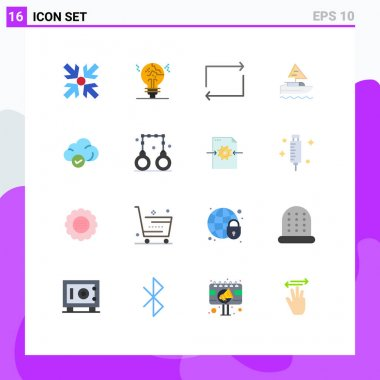 Universal Icon Symbols Group of 16 Modern Flat Colors of storage, cloud, arrow, country, ship Editable Pack of Creative Vector Design Elements icon